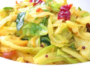Todays my recipe is simple cabbage curry topping with grated fresh coconut